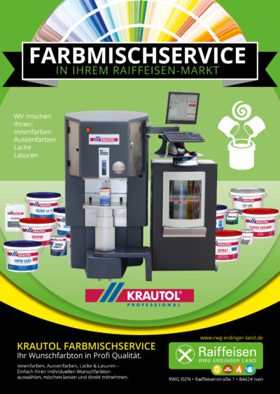 Raiffeisen-Markt Isen | Unser Service – Ihr Vorteil! - Wunschfarbe anmischen lassen