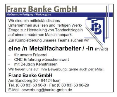 Franz Banke GmbH sucht eine/n Metallfacharbeiter/ -in