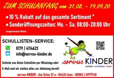 servus KINDER: Rabatt und Sonderöffnungszeiten