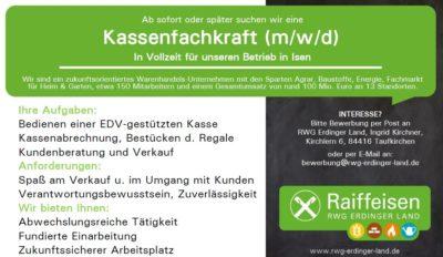 Kassenfachkraft (m/w/d) für RWG-Markt in Isen gesucht