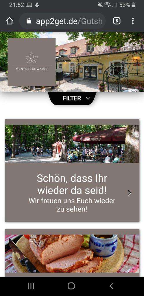 Gutshof Menterschwaige setzt auf app2get als Digitale Live Speisekarte
