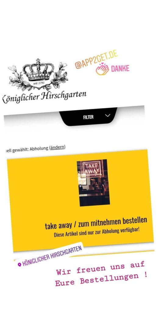 Digitale Live Speisekarte app2get beim Königlichen Hirschgarten