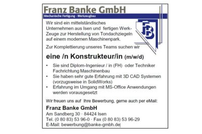 Franz Banke GmbH sucht eine/n Konstrukteur/in (m/w/d)