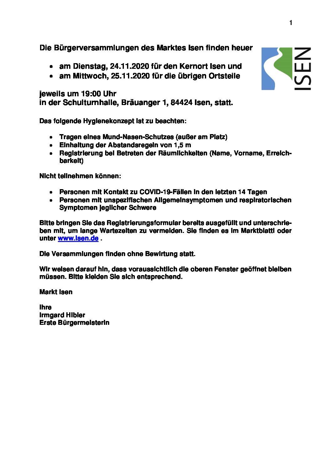 Meldeblatt Bürgerversammlung