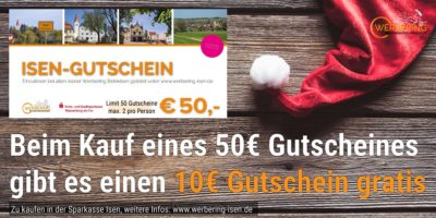 Isen Gutschein: 50 Euro bezahlen - 60 Euro Guthaben bekommen!