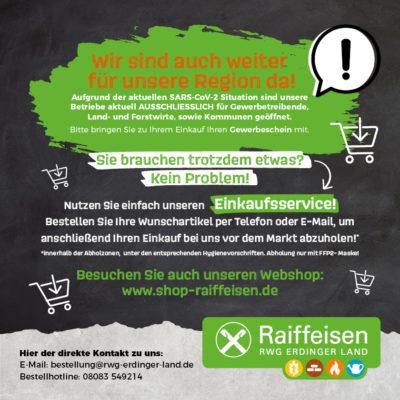 Raiffeisen: Jetzt Bestell- und Abholservice nutzen