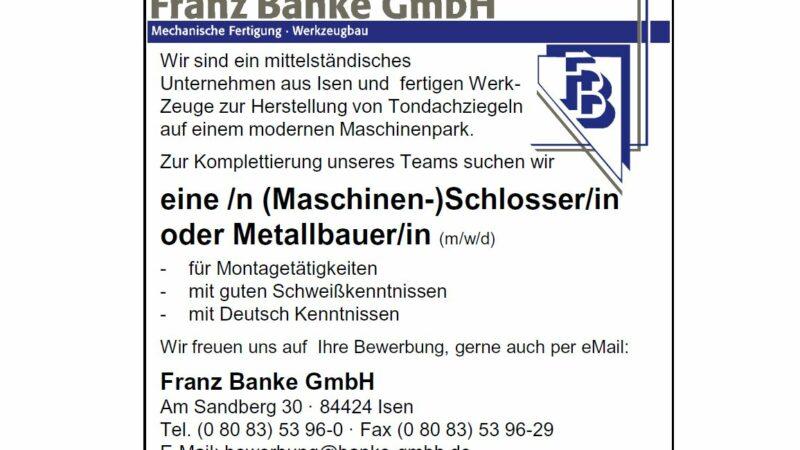 Maschinenschlosser/in oder Metallbauer/in gesucht