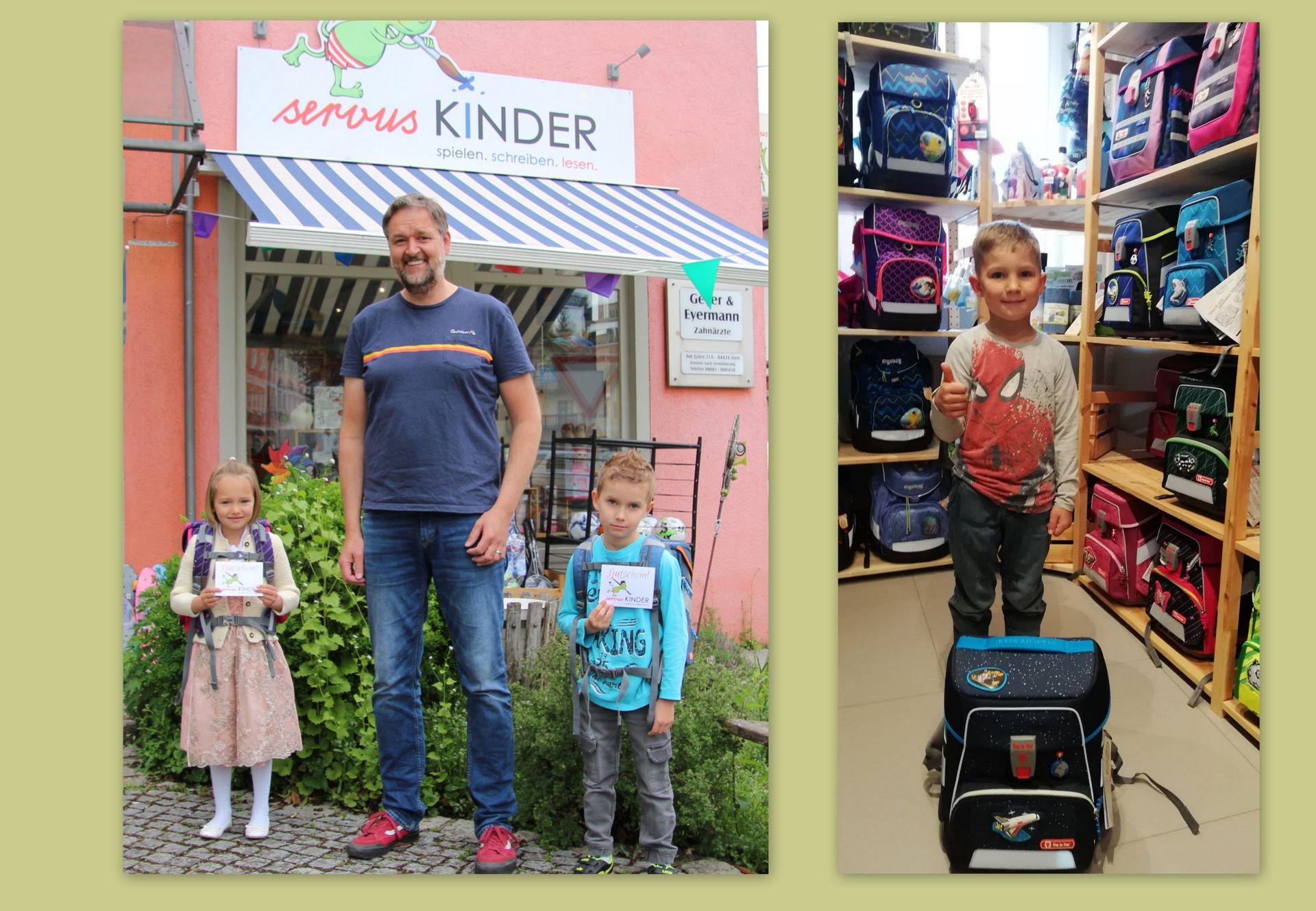 Drei glückliche Gewinner bei servus KINDER