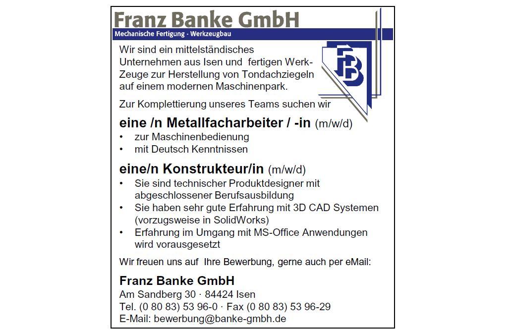 Franz Banke GmbH sucht Mitarbeiter
