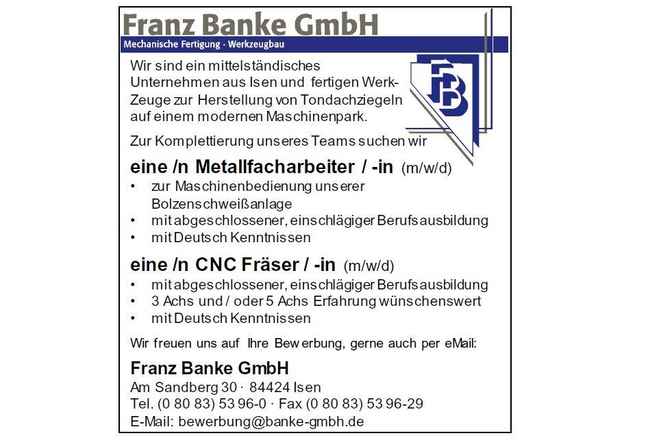 Franz Banke sucht Metallfacharbeiter und Fräser